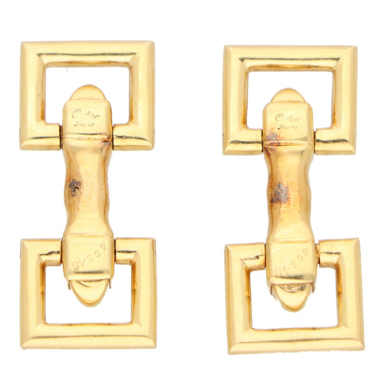 Women's or Men's Vintage Cartier Paris Snaffle Bar Cufflinks in Solid 18k Yellow Gold For Sale