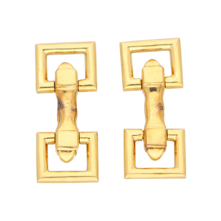 Vintage Cartier Paris Snaffle Bar Cufflinks in Solid 18k Yellow Gold For Sale