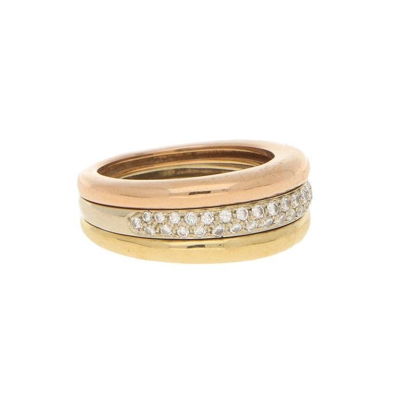 Modern Cartier 18k Tricolor Gold and Diamond Ring circa 1990, Size 54 For Sale