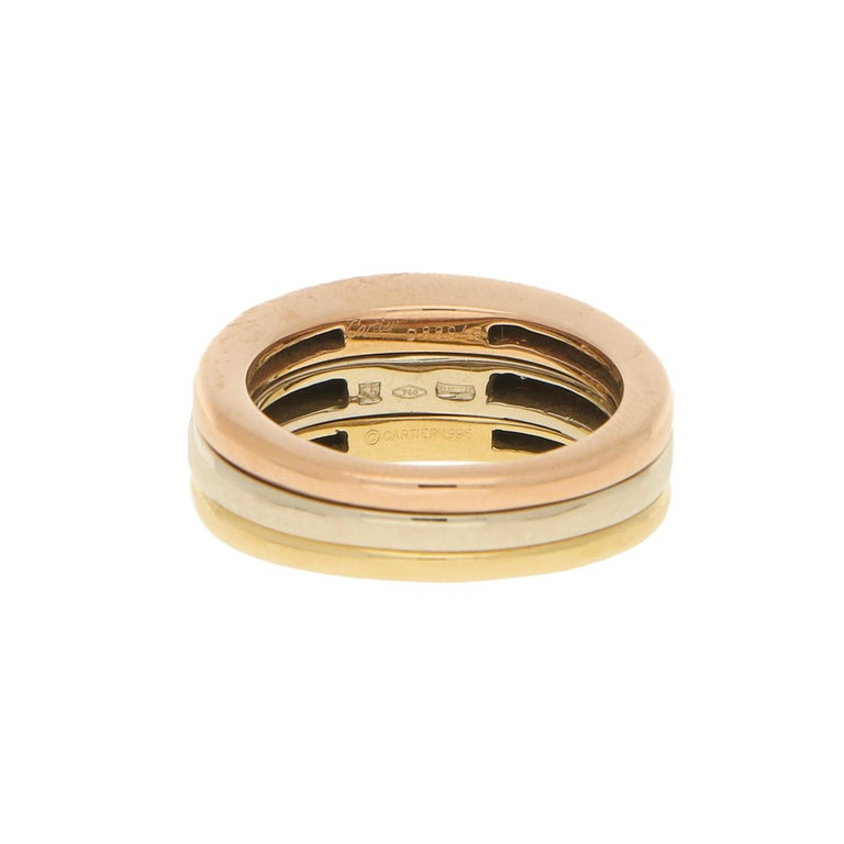 Round Cut Cartier 18k Tricolor Gold and Diamond Ring circa 1990, Size 54 For Sale