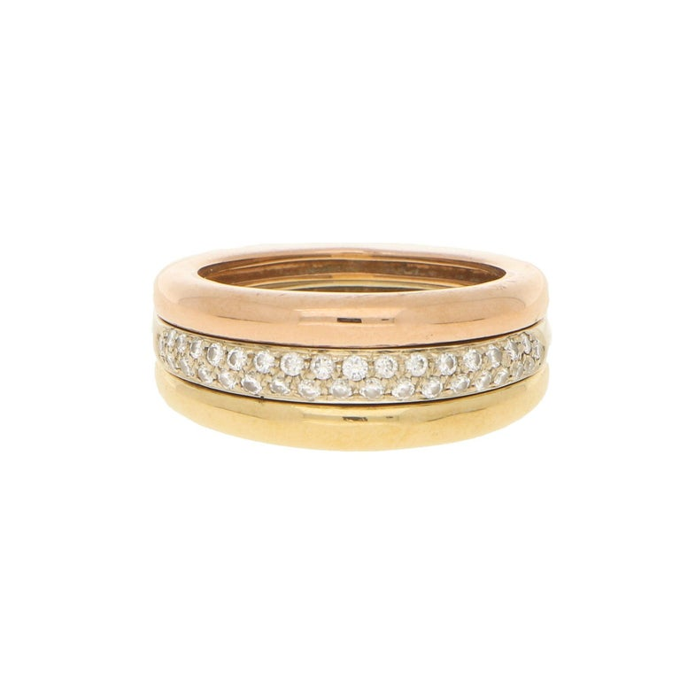 Cartier 18k Tricolor Gold and Diamond Ring circa 1990, Size 54 For Sale