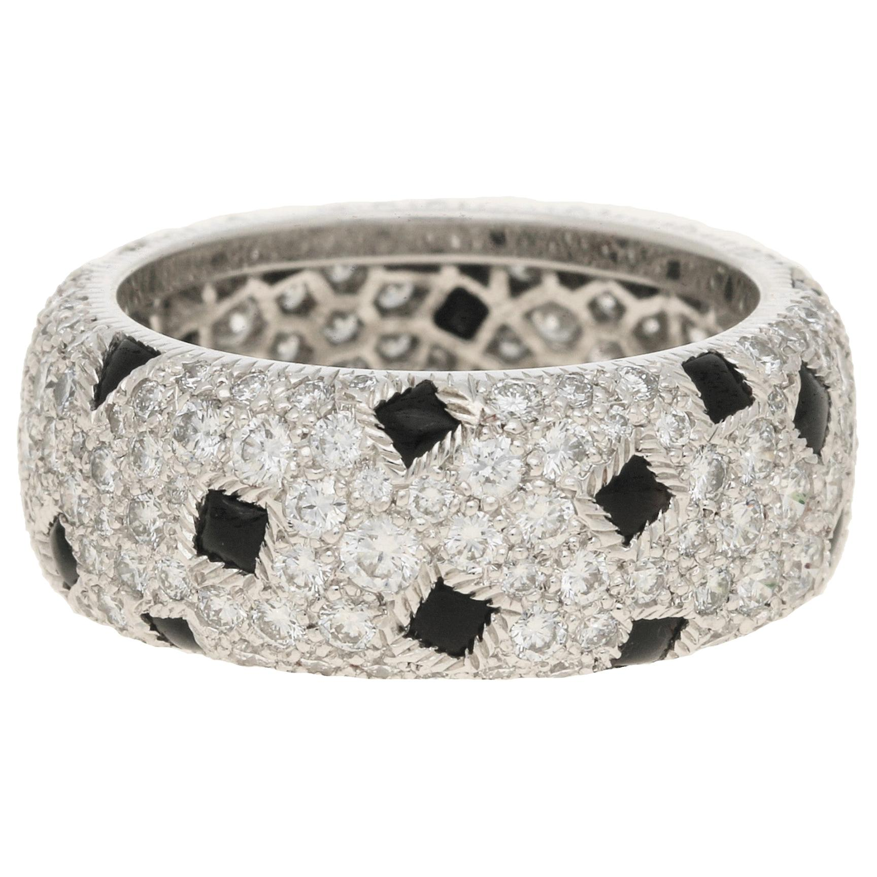 Cartier Pelage Diamond and Onyx Eternity Ring Set in 18k White Gold