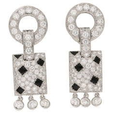 Vintage Cartier Pelage Plaque Earrings in 18 Carat White Gold, Diamond and Onyx