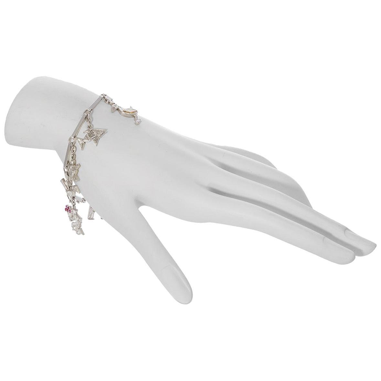 Vintage Cartier Platinum Diamond and Ruby Charm Bracelet
