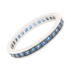 Vintage Cartier Platinum French Cut Blue Sapphire Eternity Band Signed Numbered