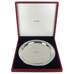 Vintage Cartier Polished Pewter Silver Tray with Original Red Presentation Box