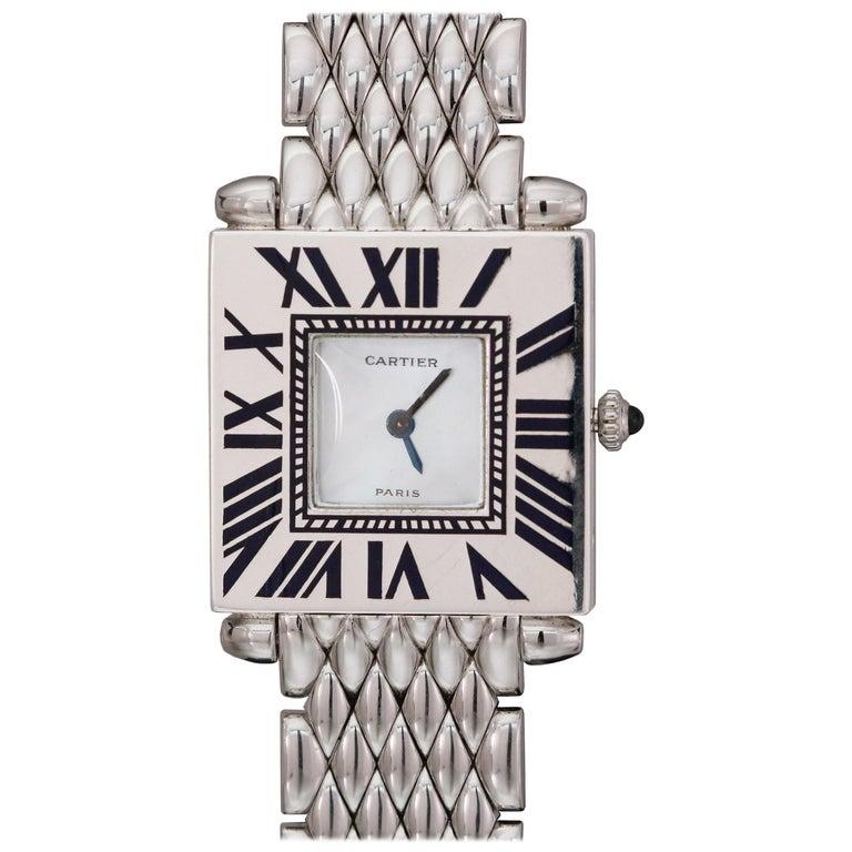 """Vintage Cartier """"Quadrant"""" White Gold and Blue Enamel Wristwatch, 1994 For Sale"""