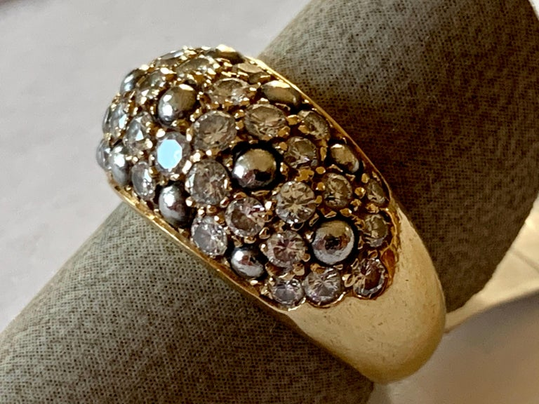 Contemporary Vintage Cartier Ring 18 Karat Yellow Gold Diamond Pave Band Ring For Sale