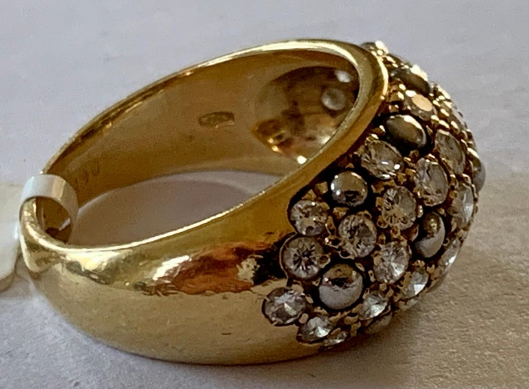 Round Cut Vintage Cartier Ring 18 Karat Yellow Gold Diamond Pave Band Ring For Sale