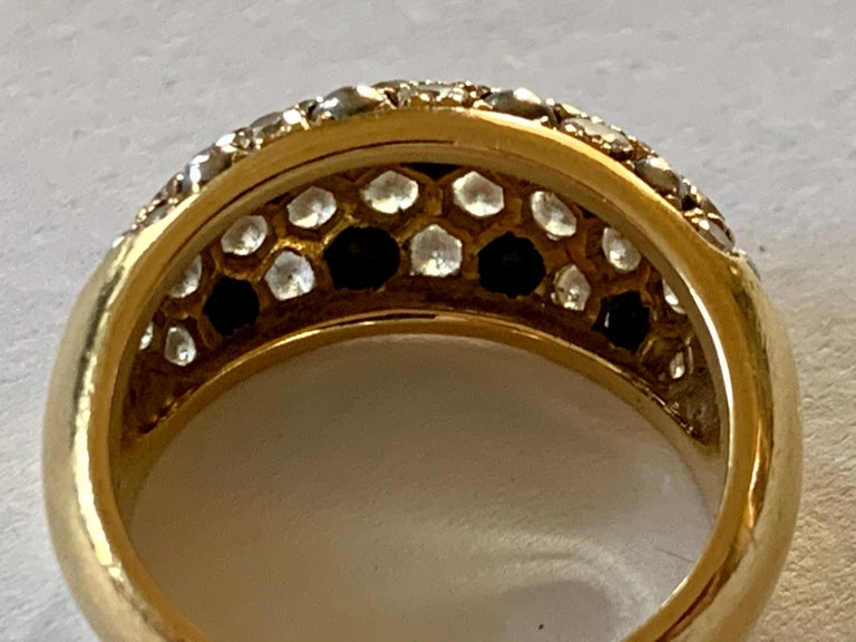 Women's Vintage Cartier Ring 18 Karat Yellow Gold Diamond Pave Band Ring For Sale