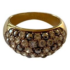 Vintage Cartier Ring 18 Karat Yellow Gold Diamond Pave Band Ring