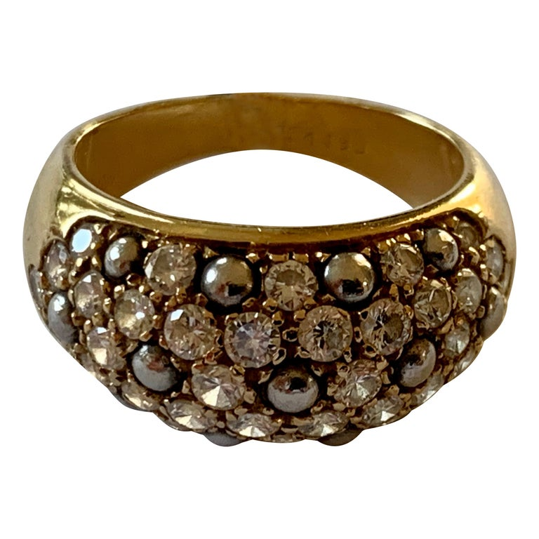 Vintage Cartier Ring 18 Karat Yellow Gold Diamond Pave Band Ring For Sale