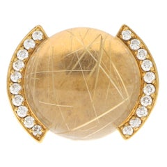 Vintage Cartier Rutilated Quartz and Diamond Bombe Ring Set in 18 Karat Gold