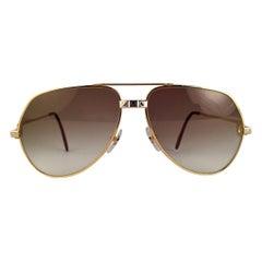 Vintage Cartier Santos Screws 56mm Heavy Plated Sunglasses France