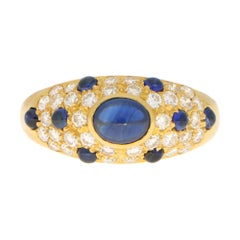 Vintage Cartier Sapphire and Diamond Dome Bombe Ring Set in 18k Yellow Gold