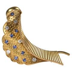 Vintage Cartier Sapphire, Diamond and Gold Brooch, Circa 1960