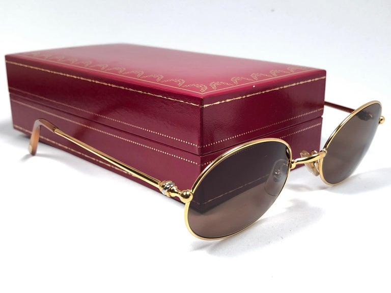 Gray Vintage Cartier Saturne Gold Plated Solid Brown Lens France 1990 Sunglasse For Sale
