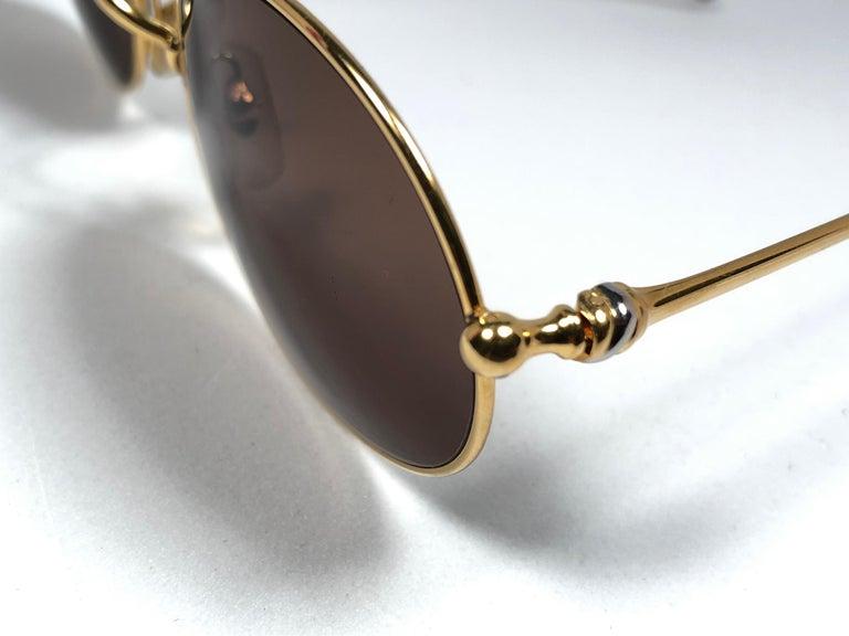 Vintage Cartier Saturne Gold Plated Solid Brown Lens France 1990 Sunglasse For Sale 1