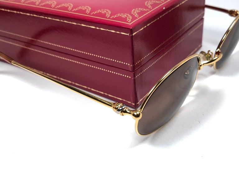 Vintage Cartier Saturne Gold Plated Solid Brown Lens France 1990 Sunglasse For Sale 2