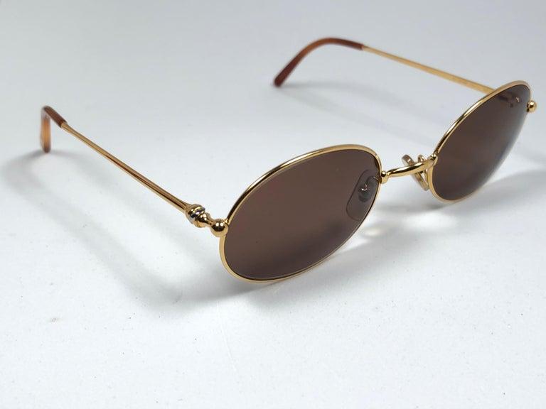 Vintage Cartier Saturne Gold Plated Solid Brown Lens France 1990 Sunglasse For Sale 3