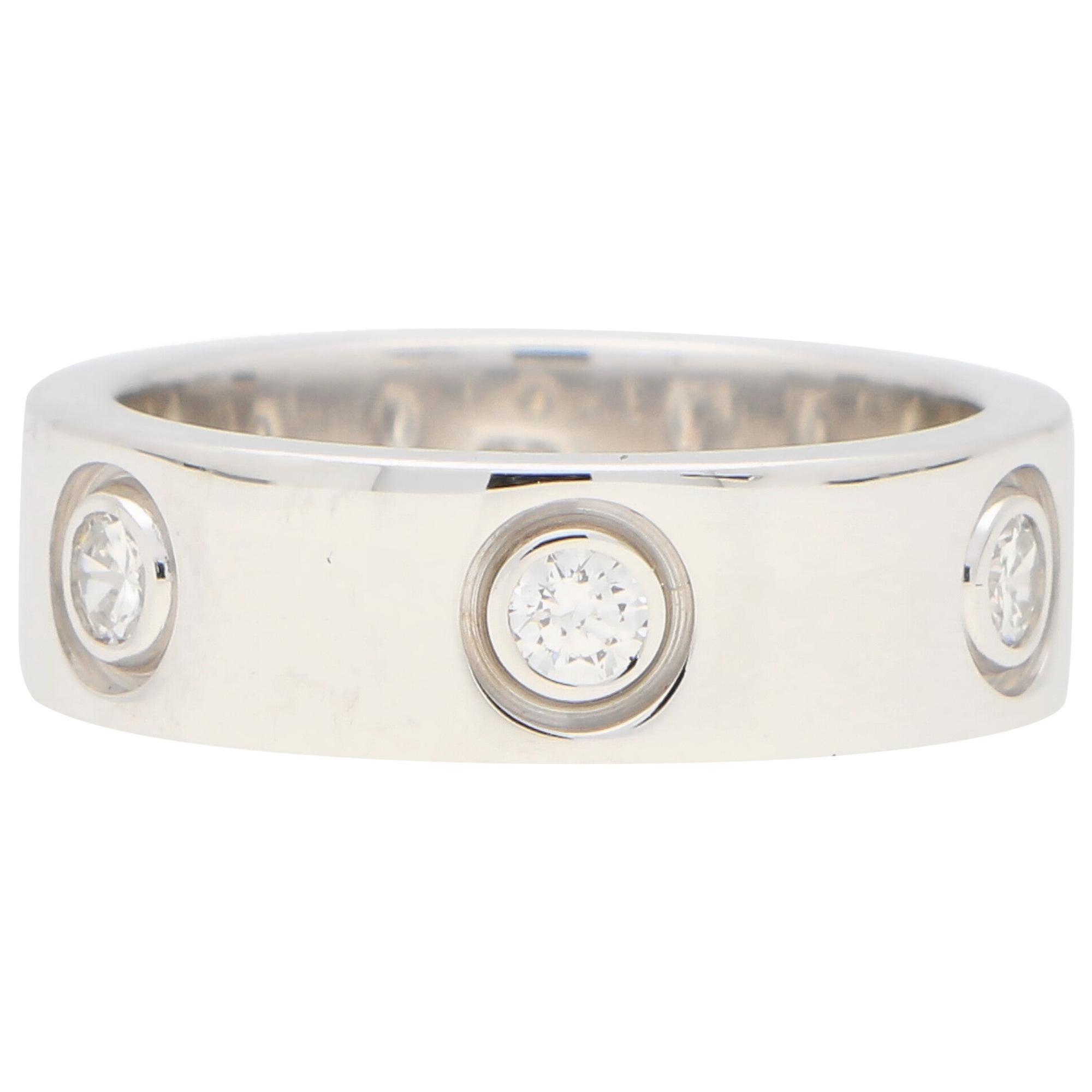 Vintage Cartier Six Diamond Love Ring Set in 18k White Gold