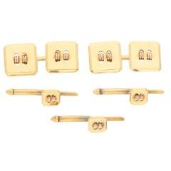 Cartier Square Button Cufflink and Stud Dress Set in 14 Karat Yellow Gold