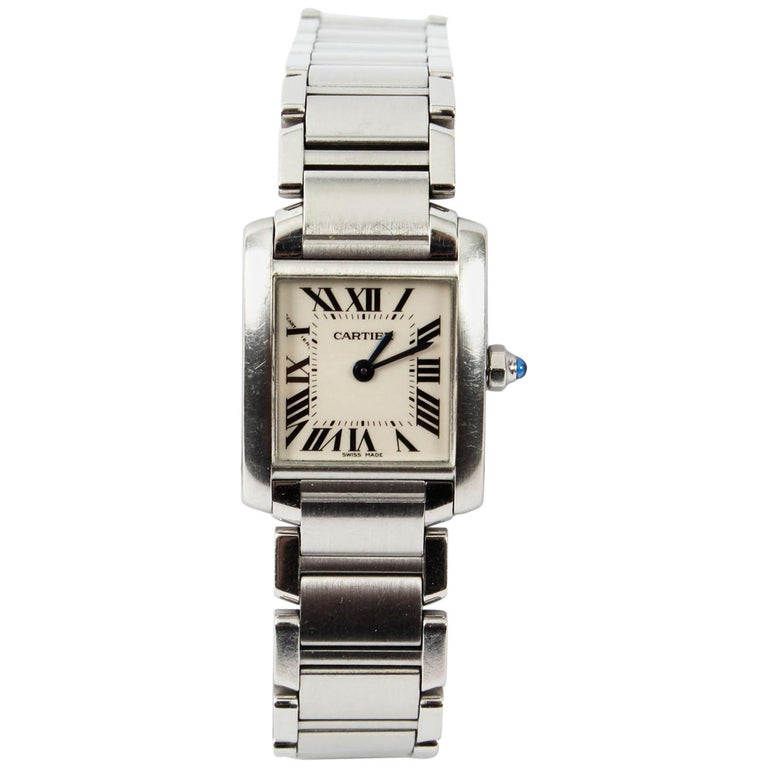 d91403fa8bc8 Vintage Cartier Tank Francaise Stainless Steel Ladies Watch