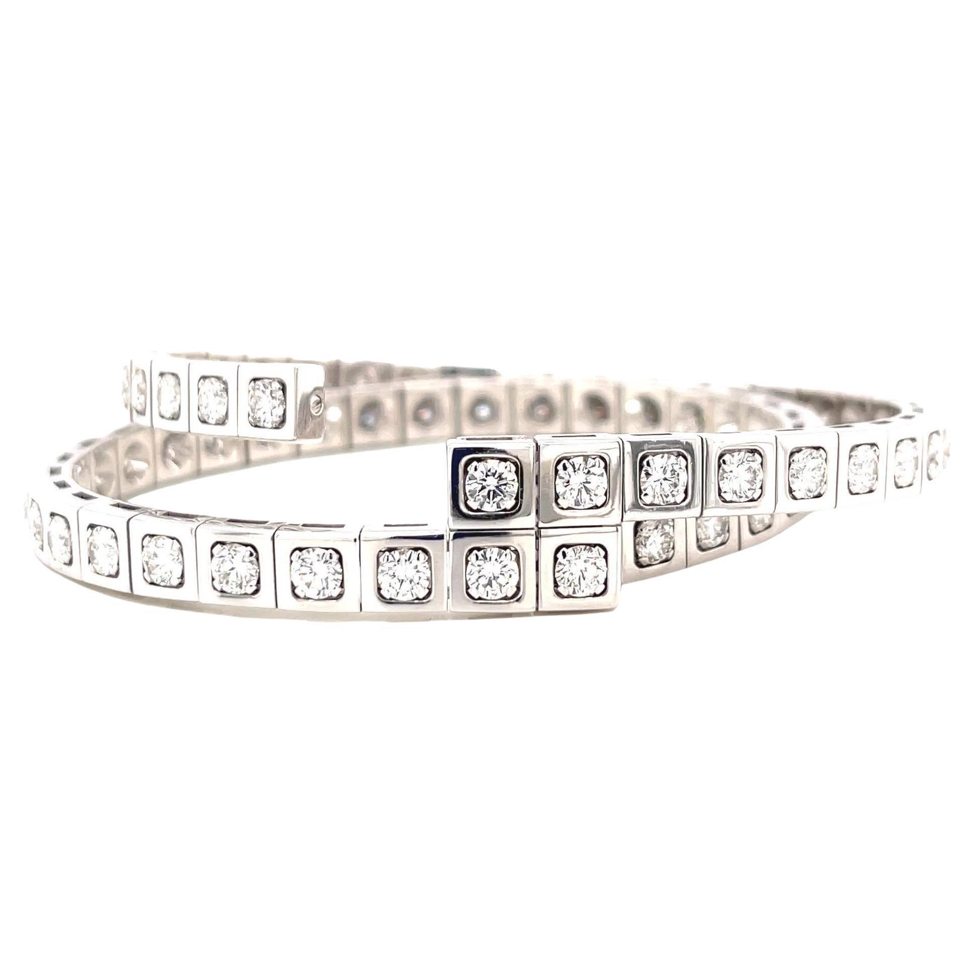 Vintage Cartier Techtonique Double Row Diamond 18 Karat White Gold Bracelet