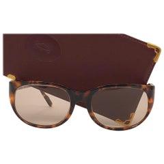 Vintage Cartier Tentation Tortoise 8k Gold Plated Accents 1990 Sunglasses France