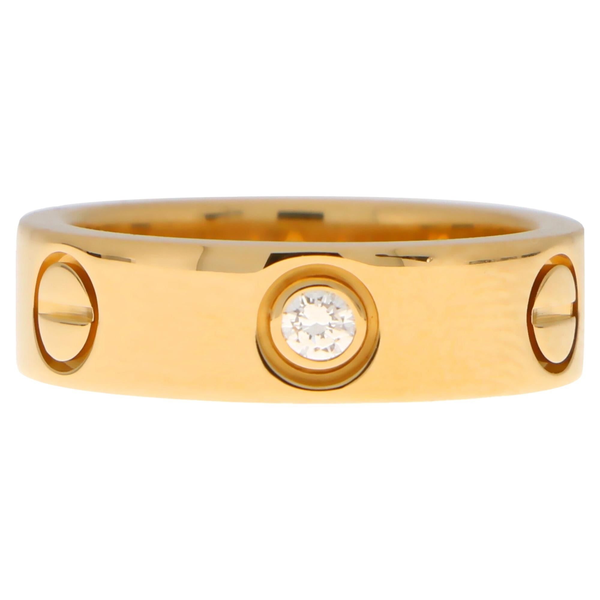 Vintage Cartier Three Diamond Love Ring Set in 18k Yellow Gold