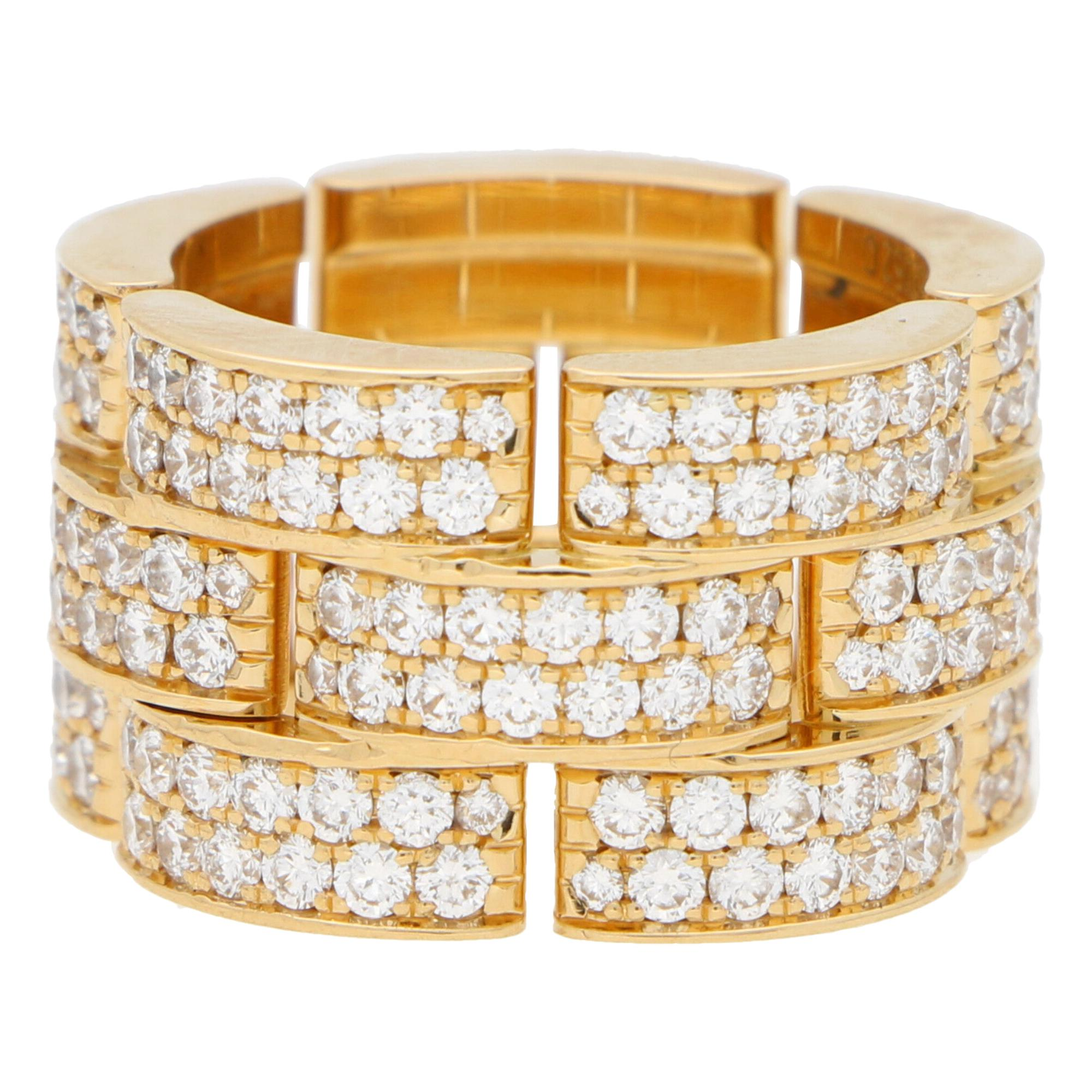 Vintage Cartier Three Row Maillon Panthère Bombè Ring Set in 18k Yellow Gold