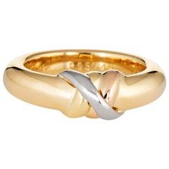 Vintage Cartier Trinity Band 1995 18 Karat Tri Gold Estate Signed Ring