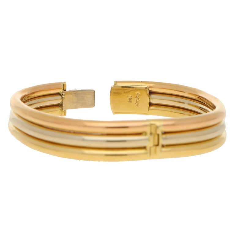 Modern Vintage Cartier Trinity Bangle in 18K Tri-Colour Gold For Sale