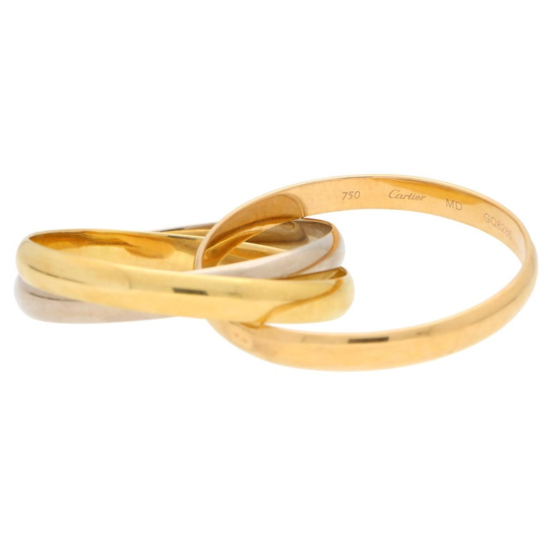 Vintage Cartier Trinity Bangle with Box Set in 18k Yellow, Rose and White Gold In Good Condition For Sale In London, GB