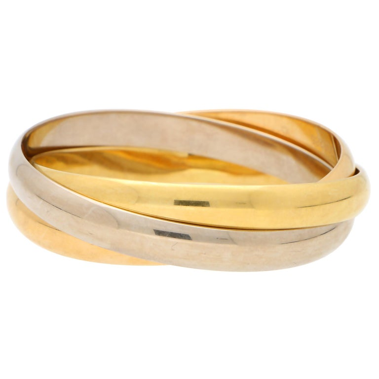 Women's or Men's Vintage Cartier Trinity Bangle with Box Set in 18k Yellow, Rose and White Gold For Sale