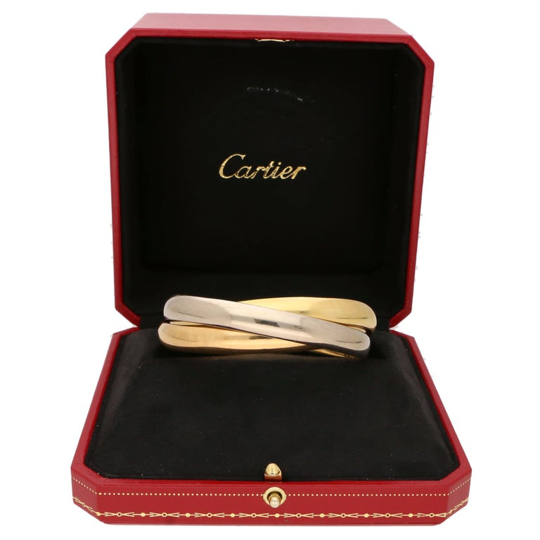 Vintage Cartier Trinity Bangle with Box Set in 18k Yellow, Rose and White Gold For Sale 1