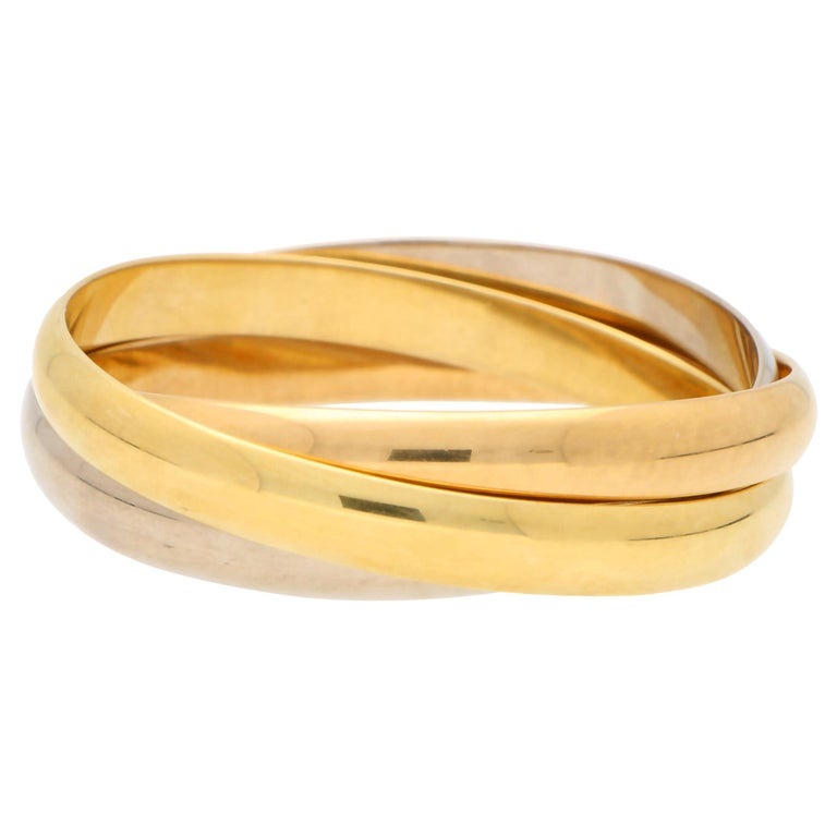 Vintage Cartier Trinity Bangle with Box Set in 18k Yellow, Rose and White Gold For Sale
