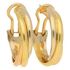 Vintage Cartier Trinity Hoop Earrings in 18 Carat Tri-Colour Gold