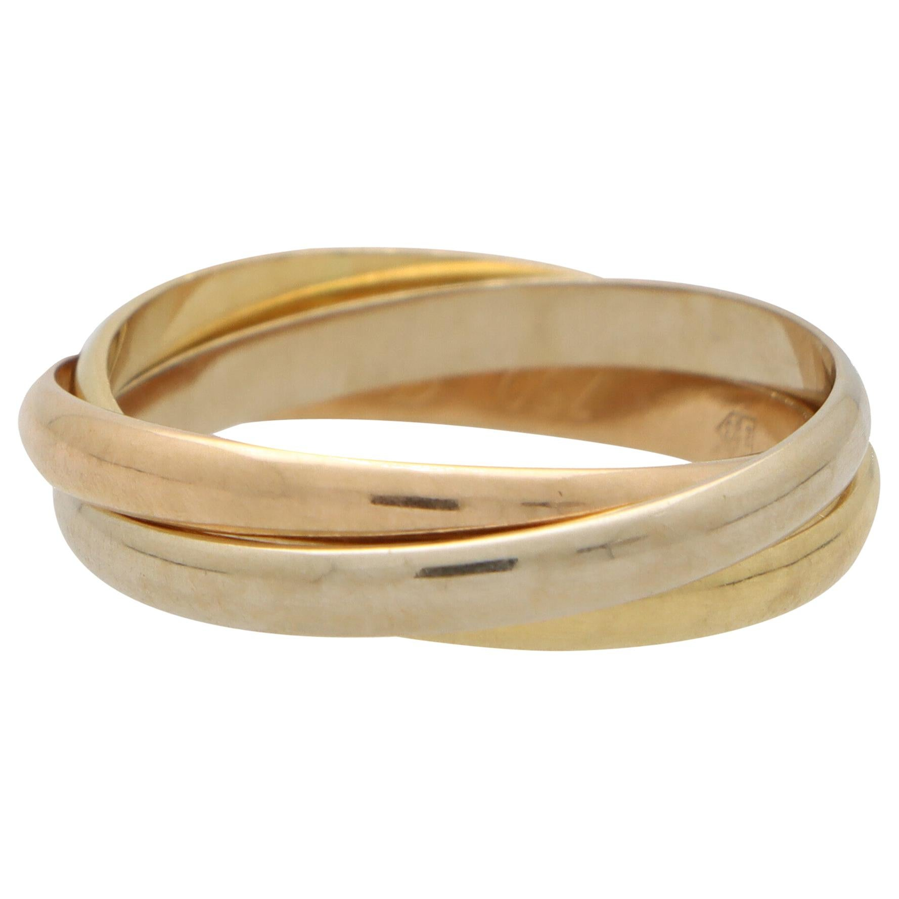 Vintage Cartier Trinity Ring Set in 18k Yellow, Rose and White Gold