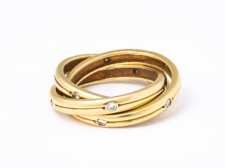 Round Cut Vintage Cartier Trinity Ring with Diamonds For Sale