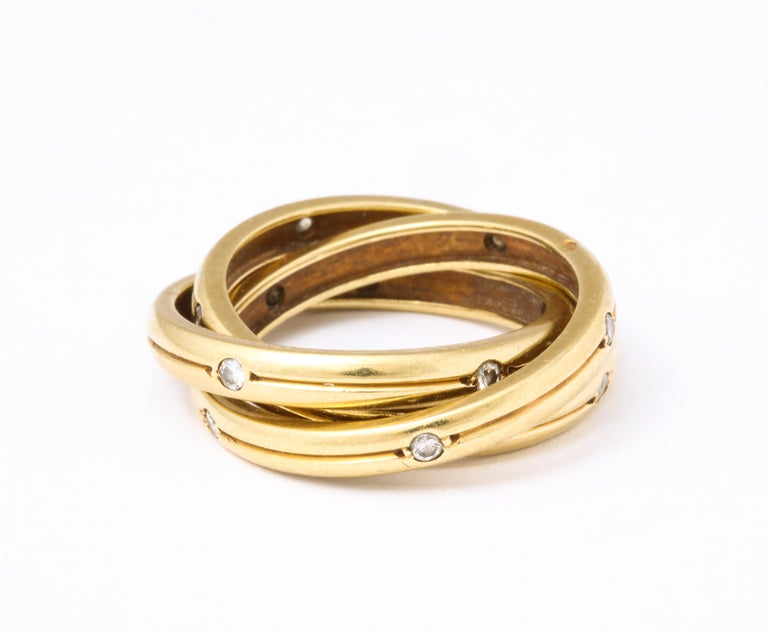 Vintage Cartier Trinity Ring with Diamonds In Good Condition For Sale In New York, NY