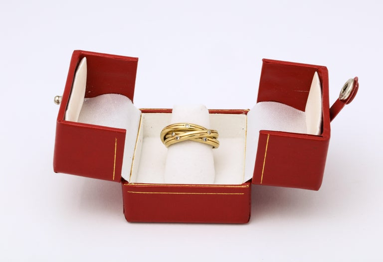 Women's Vintage Cartier Trinity Ring with Diamonds For Sale