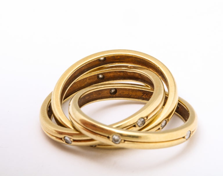 Vintage Cartier Trinity Ring with Diamonds For Sale 1
