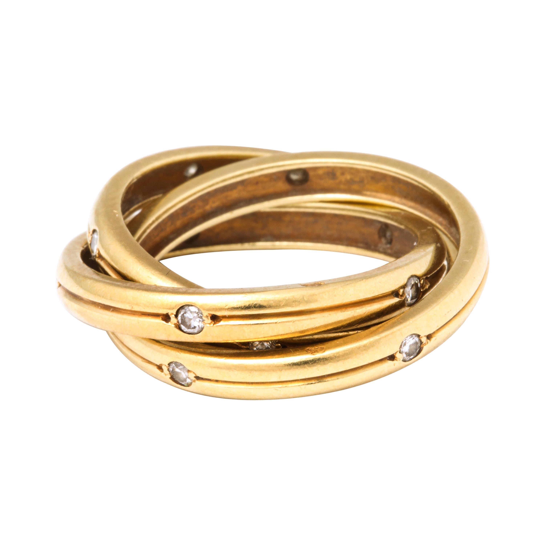 Vintage Cartier Trinity Ring with Diamonds