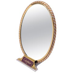 "Vintage Cartier ""Trinity"" Table Mirror Silver Gold and Rose Plated, 1970"