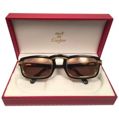 Vintage Cartier Vertigo Gold and Black 52MM Sunglasses France, 1991