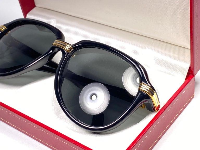 Vintage Cartier Vitesse Black Gold Oversized 60mm Gold Plated Sunglasses France  For Sale 1