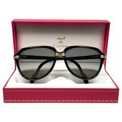 Vintage Cartier Vitesse Black Gold Oversized 60mm Gold Plated Sunglasses France