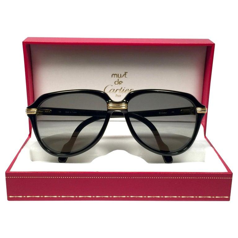 Vintage Cartier Vitesse Black Gold Oversized 60mm Gold Plated Sunglasses France  For Sale
