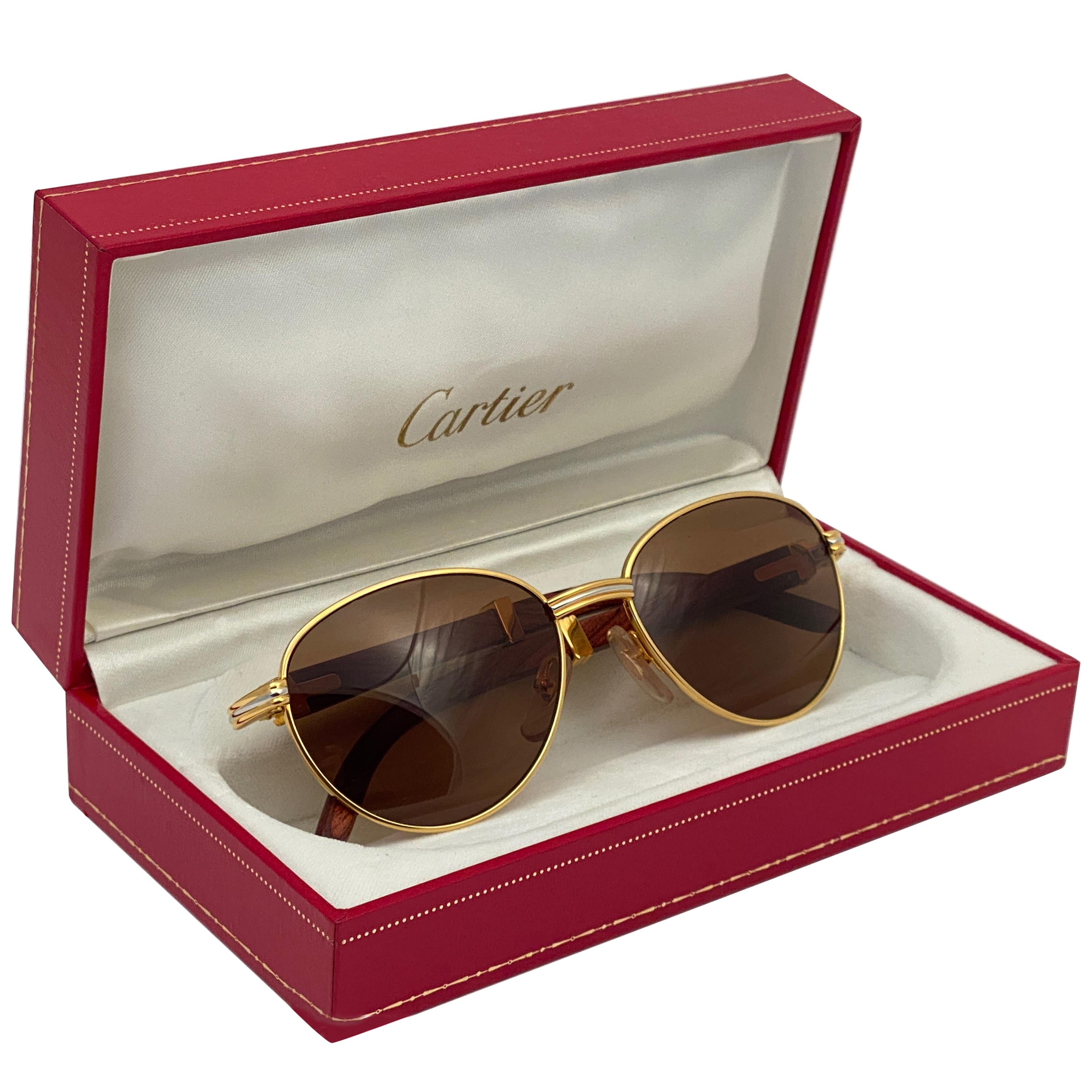 Vintage Cartier Wood Auteuil 54mm Gold and Precious Wood Brown Lens Sunglasses